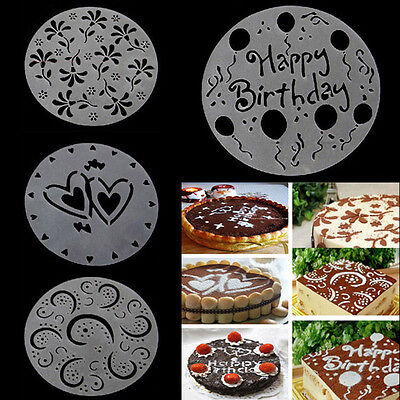 Eco 4Pcs Friendly Flower Heart Print Stencils Mold Decorating Mode Bakery Tools