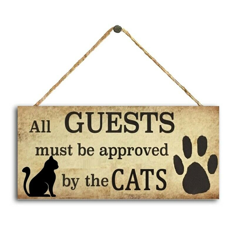 1Pc Gift for Cat Owner Hanging Door Wall Sign Plaque Theme Wooden Sign Ntls #ly
