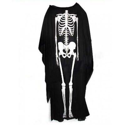 ADULT SCARY SKELETON BLACK ROBE SCREAM HALLOWEEN FANCY DRESS UP