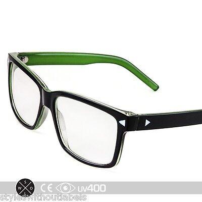 Clear Lens Vintage Green Accent Frame Hipster Glasses Sunglasses Nerd Geek (Green Hipster Glasses)