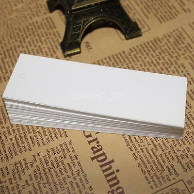 100pcs 110x35mm Rectangle Jewelry Garment White Price Tags Paper Hang Label