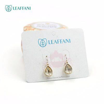 New Lia Sophia Leaffani Gold Amber Crystal Teardrop Hook Dangle Drop Earrings