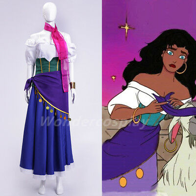 The Hunchback of Notre Dame Esmeralda Dress Gown Halloween Cosplay Costume Adult](Hunchback Costume)