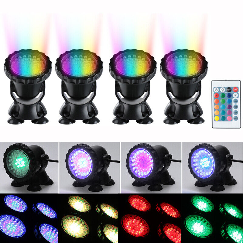 Lot 2 X Submersible 36LED RGB Pond Spot Lights for Underwater Pool Fountain IP68 Garden Lighting Equipment Garden & Patio