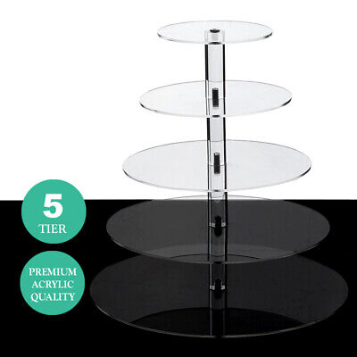 5 Tiers Clear Premium Acrylic Crystal CUPCAKE Stand Birthday Party Events SALE