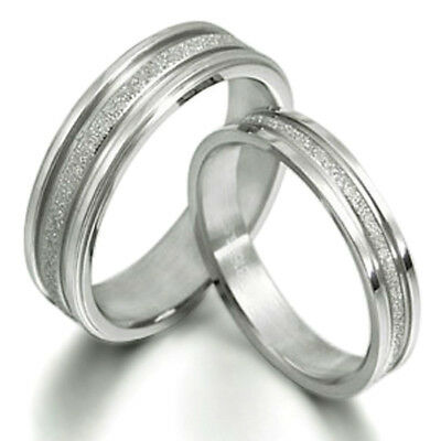 Unisex His and Her Silver Scrub Matching Wedding Bands Titanium Ring Set 016A3