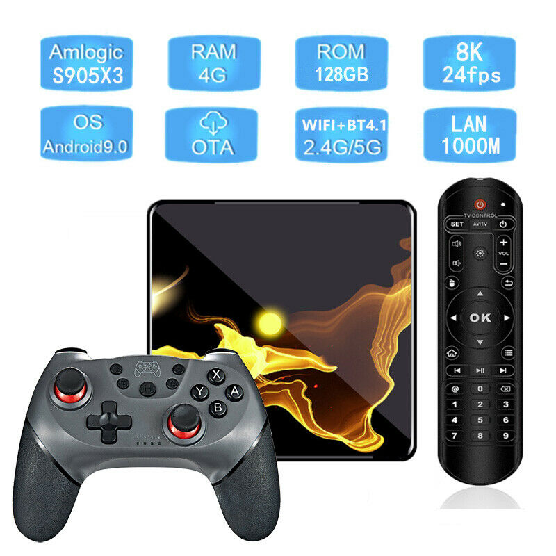 X99 Max+ Android 9.0 Quad Core 128GB/4GB Bluetooth Dual WiFi 5G Gaming TV Box
