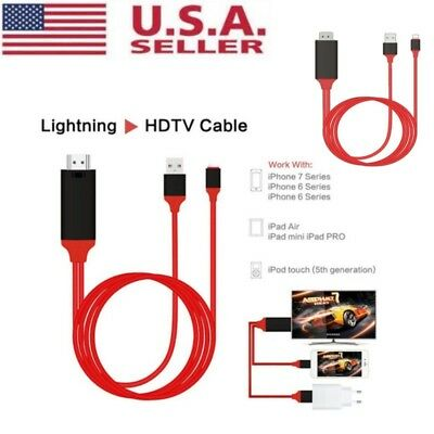 US 1080p 8Pin Lightning to HDMI HDTV AV TV Adapter Cable Cord For iPhone 6 7 8 X