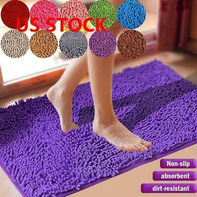 Shaggy Microfiber Soft Bathroom Rug Shower Bath Mats Non-Slip 5 Colours US ()