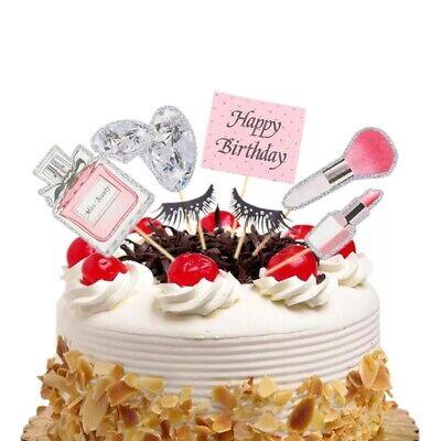 Happy Birthday Topper Deko Make Up Kosmetik Geburtstags Torten Stecker Kuchen