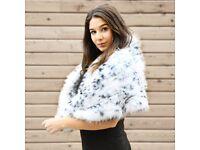 DAYMISFURRY --- Luxury Knit White Fox Fur Cape