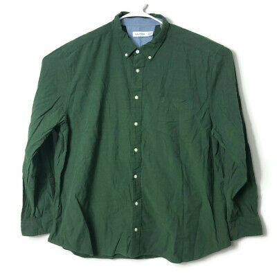 Nautica Mens 3XL Dark Forest Green Solid Button Down Shirt Dressy Casual Work