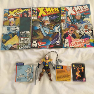 X-Men Cable Collection comic and figure lot