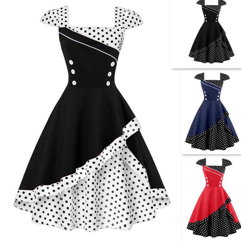 GR.36-48 Damen Retro Rockabilly Party Swing Kleid Polka Dots Ballkleid Tanzkleid