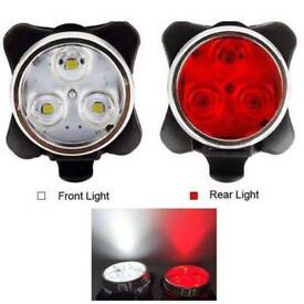 NEW USB BIKE LIGHTS (1795) USB Rechargeable FRONT REAR 3LED BICYCLE FLASHLIGHT/LIGHT WATER RESISTANT
