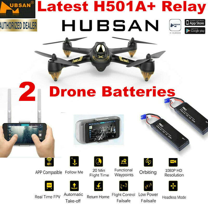 Hubsan X4 H501A RC APP FPV Dron 1080P Quadcopter W/ GPS Waypoint RTF+2Batteries