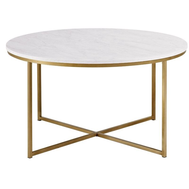 Wayfair Round Marble Gold Coffee Table In Dreghorn North