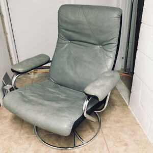 Grey Leather Reclining Swivel Chair