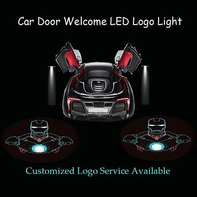 2x Car Door Welcome 3D Iron Man Gobo Laser Projector Ghost Shadow LED Logo Light