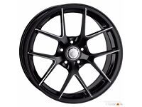 """18"""" Cades Shift Black Alloy Wheels and Tyres for VW Audi Seat Etc"""