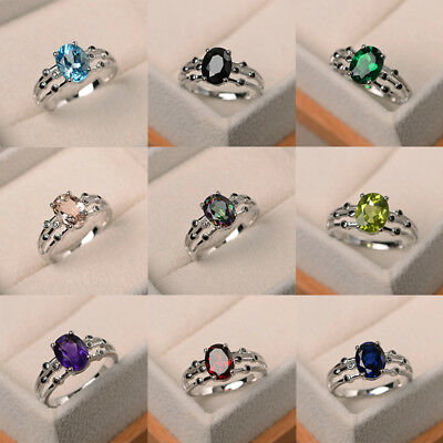 Elegant Green Red Blue Purple Black Topaz Womens Wedding Ring 925 Silver Jewelry](Red Wedding Ring)