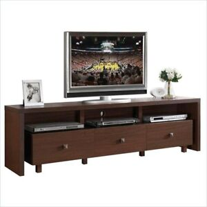 Modern Tv Stand Entertainment Media Center Home Theater Console Wood Furniture Hickory Brown