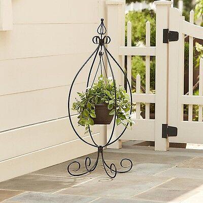 Plant Stand Hanging Pot Garden Decor Indoor Outdoor Patio Pool Flower Black NEW