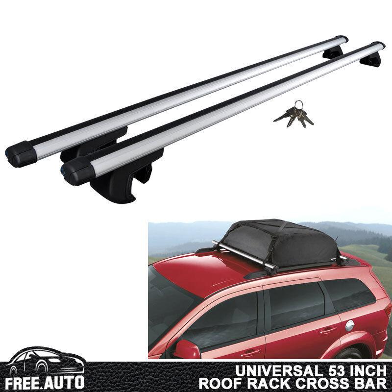 "Adjustable 53/"" Car Top Silver Aluminum Cross Bar Roof Cargo Luggage Rack"