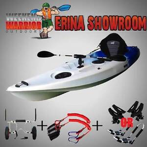 Fishing Kayak Package with Trolley Roof Cradles or J Racks Paddle Erina Gosford Area Preview