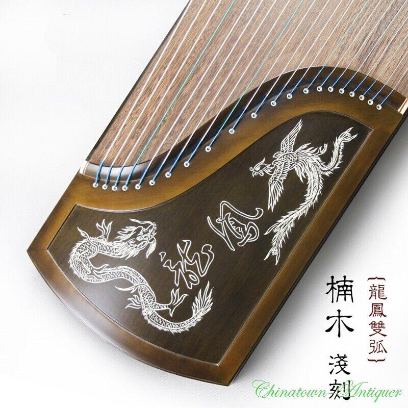 "Phoebe Zhennan Dragon&Phoenix 64"" 21-String GuZheng Zither Harp Koto 楠木龍鳳古箏#2953"
