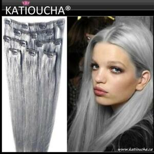 CLIP IN Hair Volumater, CLIP IN Hair extension,100% HUMAN Remy Egyptian/ SILVER GRAY,ASH BLONDE #60,PLATINUM 22'' &20''