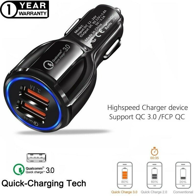Fast Car Charger Qualcomm QC3.0 Certified Quick 2-USB Port C