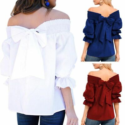 - Women Loose Off Shoulder Ruffle Puff Sleeve Shirt Bow Knot Tops Tunic Blouse Tee