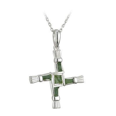 St Brigids Bridgets Cross Connemara Marble Sterling Silver Pendant S44703