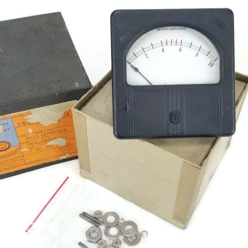 Vintage Westinghouse Instruments Milliammeter  Type RX-35 Gauge 1 mA Full Scale