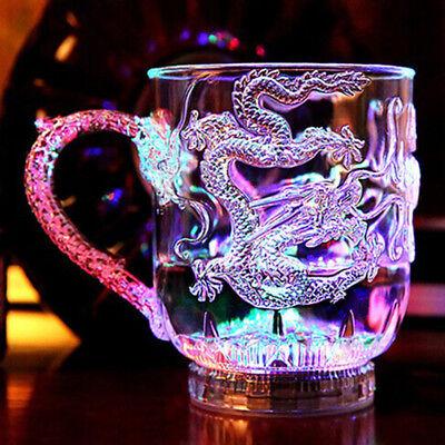 Tasse LED leuchten Bier Whiskey Kneipe Hochzeit Saft Getränk bunt Blitz Drache China Whiskey