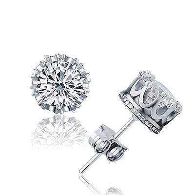 Women Jewelry Elegant 925 Sterling Silver Crystal Ear Stud Earrings Crown Stone