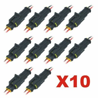 10pcs 2pin Car Waterproof Male Female Electrical Connector Plug With Wire Kits