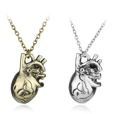 Three Dimensional 3D Science Anatomical Heart Necklace Chain Pendants Women Men