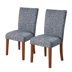 HOMEPOP PARSONS UPHOLSTERED ACCENT DINING CHAIRS (2) NAVY- mnx