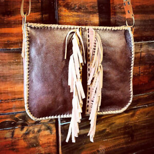 Handcrafted leather bags satchel purse->boho tribal rustic style