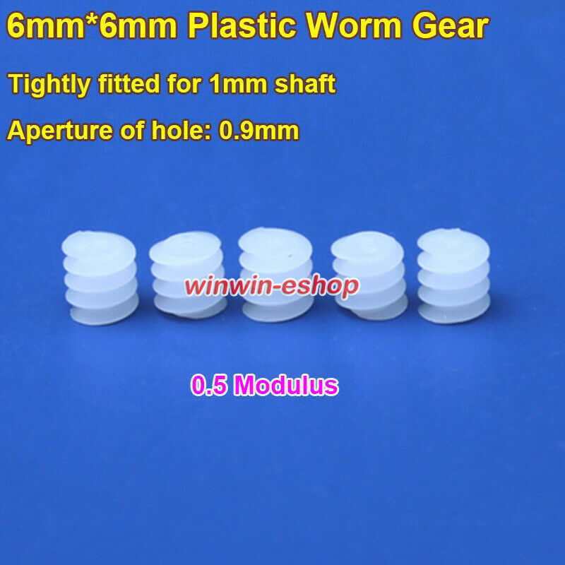 6mm*6mm Plastic Worm Gear Deceleration Gear Turbine 0.5 Modulus For 1mm Shaft