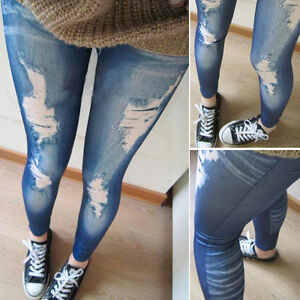 Ripped Denim Jeans Look Skinny Jeggings Tights Pants Trousers Blue