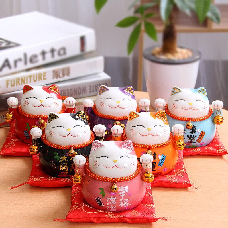 Maneki Neko Ceramic Lucky Cat Home Decor Fortune Money Fengshui Craft Porcelain