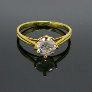 Yellow 18K Fine Gold Filled Solitaire Ring Size 6.5 - New