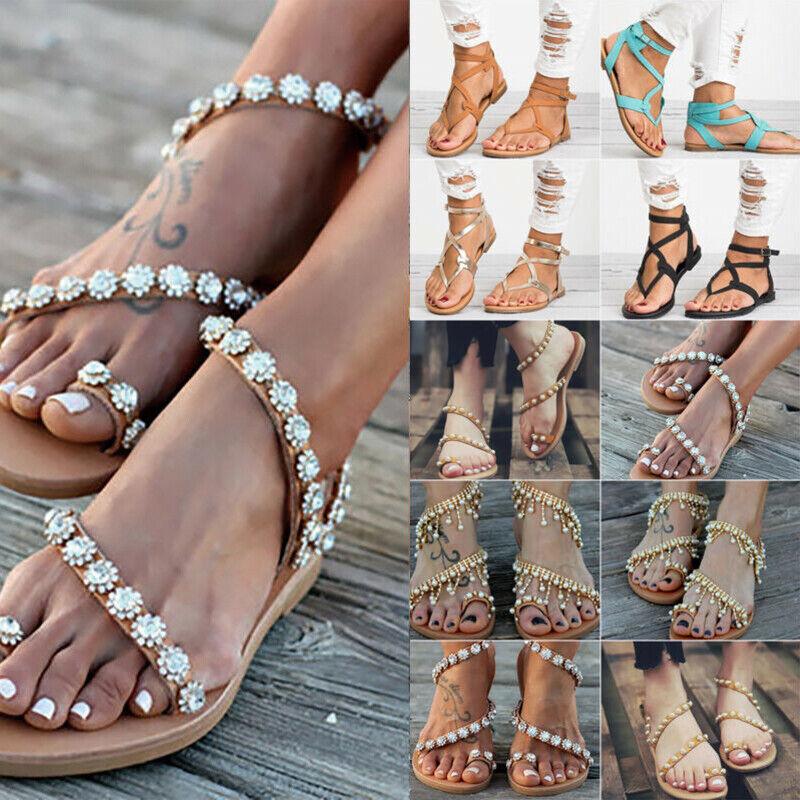 Damen Flache Sandalen Boho Vintage Sandaletten Zehentrenner Strand Sommerschuhe