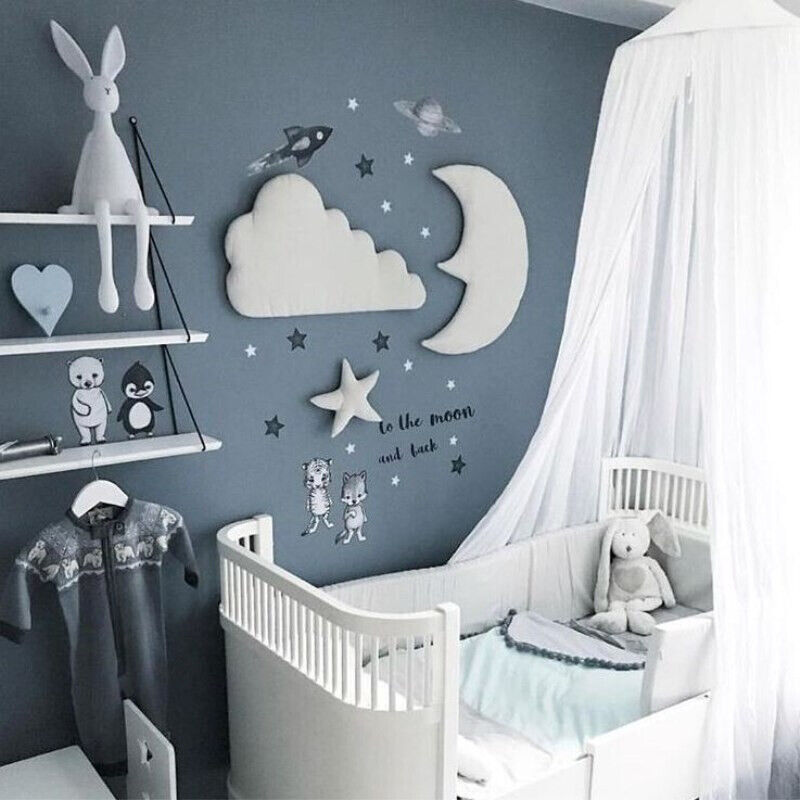 Details About Moon Cloud Star Wall Stickers Nursery Baby Room Decor Kids Art Murals Decoration