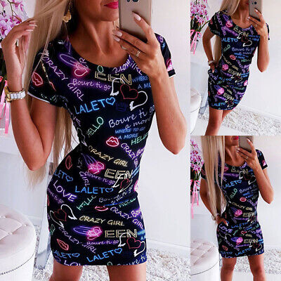 Women Letter Printed Mini Dress Ladies Summer Bodycon Dress Party Holiday Causal