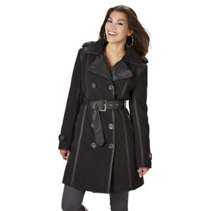 Women's Faux Wool Mixed Media Trench Coat Small, New