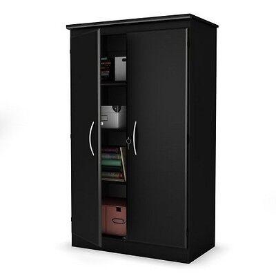 South Shore Morgan 2 Door Storage Cabinet  Pure Black